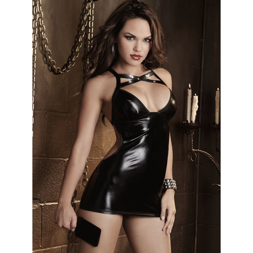 Dreamgirl Wet Look Studded Crisscross Chemise & Paddle