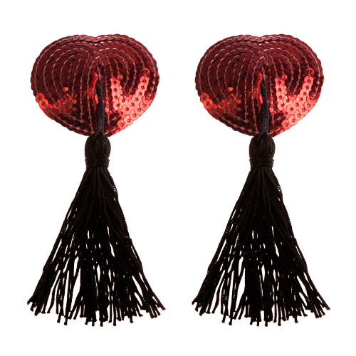 Bondara Burlesque Sequin Heart Nipple Tassels