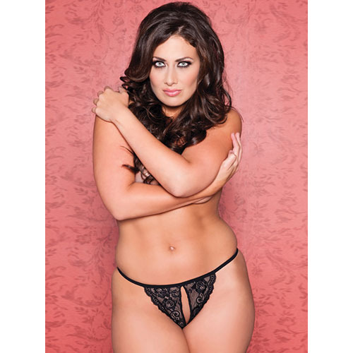 Plus Size Seven Til Midnight Tina Split Crotch Lace Thong