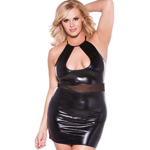 Plus Size Wet Look Halter Dress
