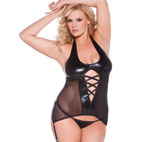 Plus Size Wet Look Halter Corset