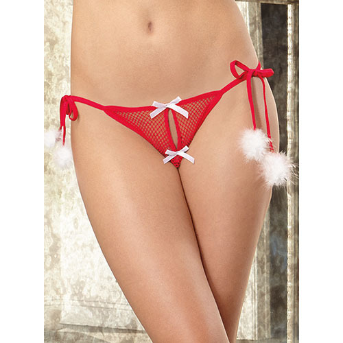 Dreamgirl Open Crotch Red Fishnet Santa Knickers
