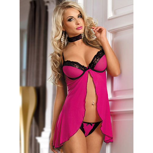 Hot Pink Open Front Babydoll Set