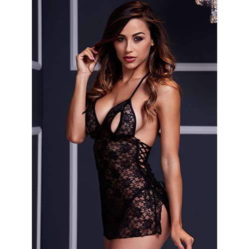 Baci Lace Up Peek-a-Boo Negligee