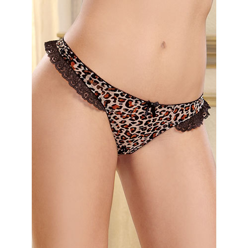 Dreamgirl Leopard Print Open Crotch Thong