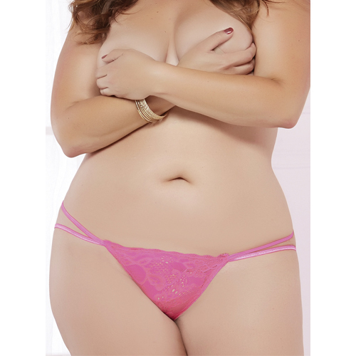 Plus Size Seven Til Midnight Pink Galloon Lace Panty