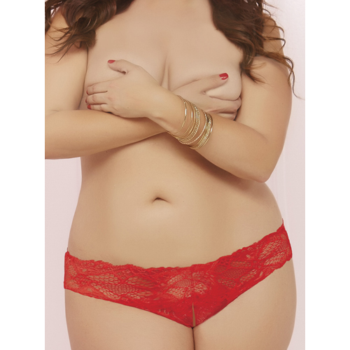 Plus Size Seven Til Midnight Red Lace Crotchless Thong