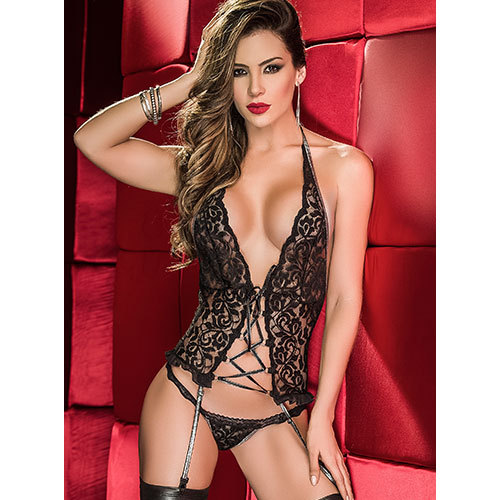 Mapalé Lace Me Up Two Piece Set with Metallic Garters
