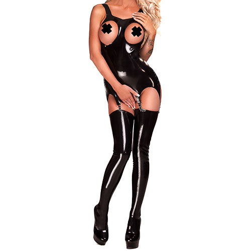 Bondara Latex Black Open Boob Garter Dress