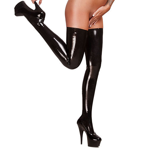 Bondara Latex Black Thigh High Stockings