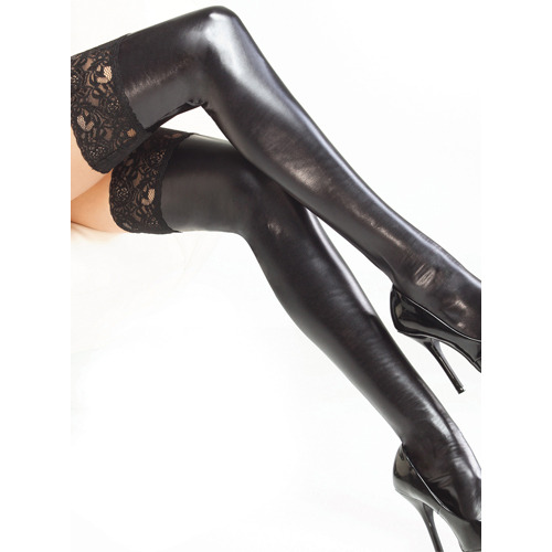 Coquette Darque Wet Look and Lace Stockings