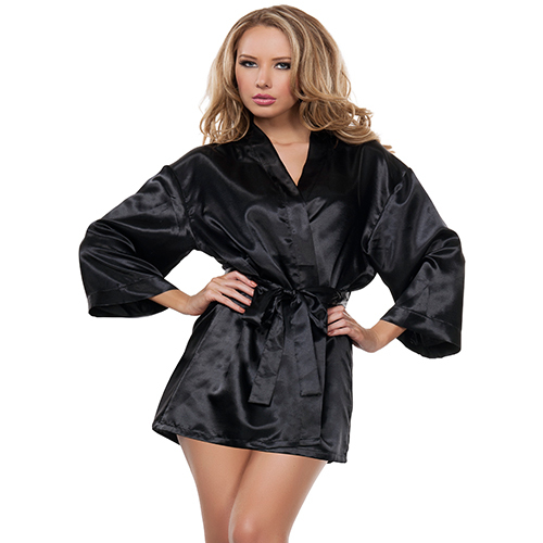 Black Satin Babydoll and Robe