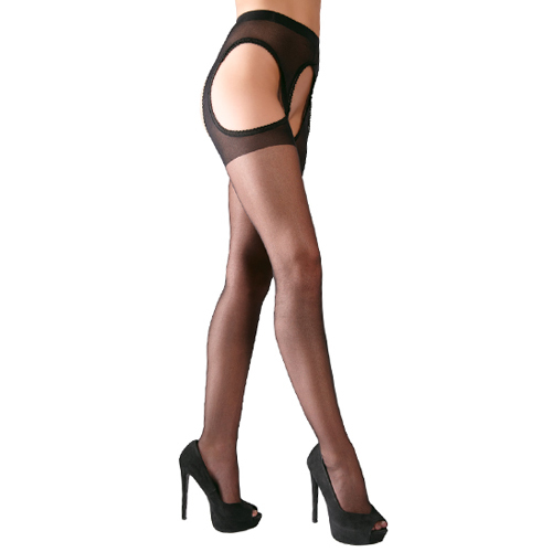 Cottelli Collection Plus Size Black Crotchless Tights