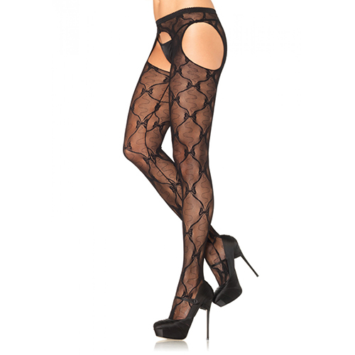 Leg Avenue Bow Garter Belt Pantyhose