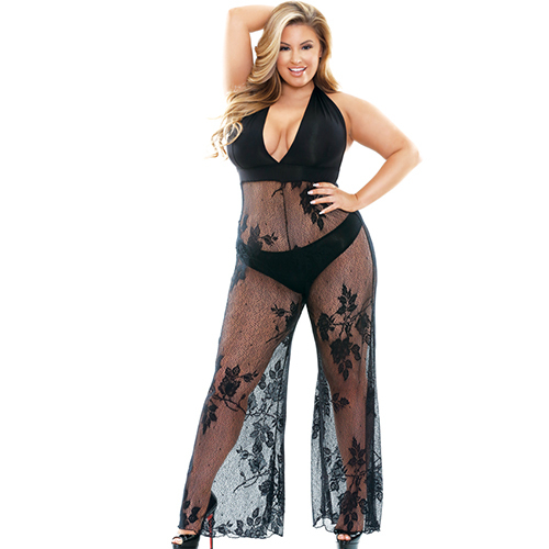 Fantasy Curve Floral Sheer Jumpsuit and Panty Set