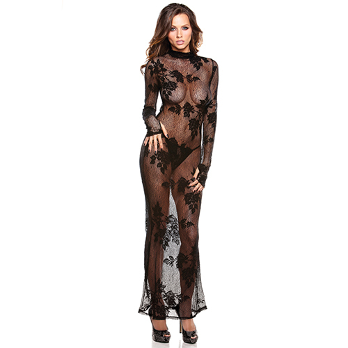 Floral Lace Gown and G-String Set
