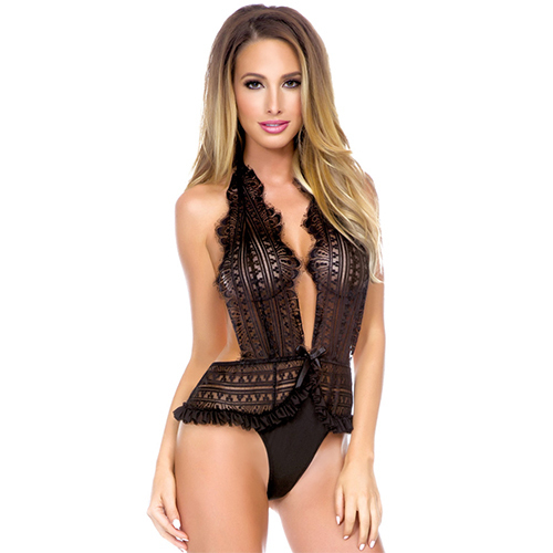 Fantasy Plunging Frilled Halter Teddy