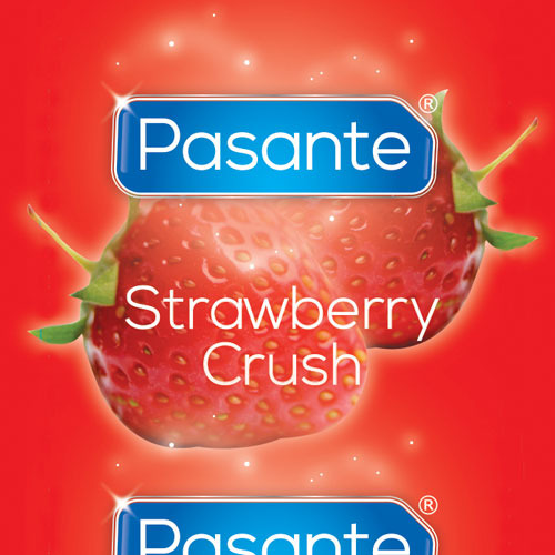 Pasante Strawberry Crush Condom - Loose