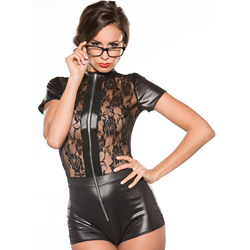 Kitten Wet Look Lace Playsuit