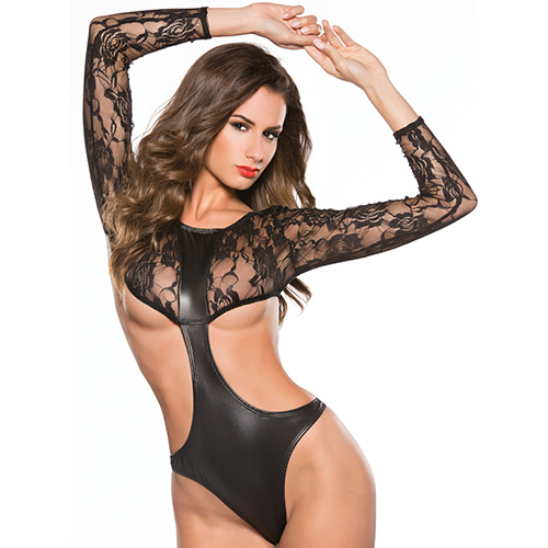 Kitten Cut Out Lace Teddy