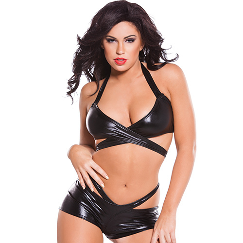 Kitten Wet Look Strappy Bra Set