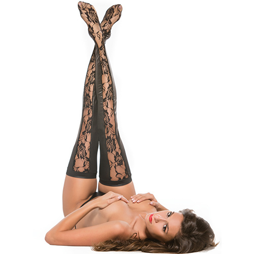 Kitten Cut Out Wet Look Lace Hold Ups