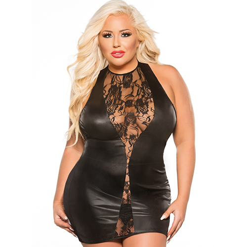 Kitten Sexy Wet Look Plus Size Dress
