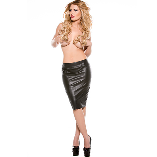 Seductive Faux Leather Knee Length Skirt