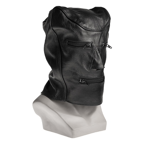Lip and Eye zip Leather Bondage Hood