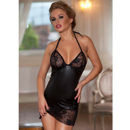 Bondara Wet Look and Lace Up Chemise