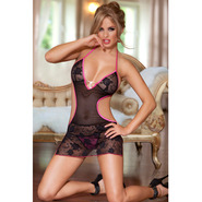Bondara Black Lace Cut Out Chemise