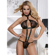 Leather Look and Lace Teddy