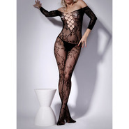 Floral Lace Up Crotchless Bodystocking