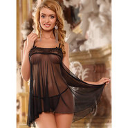Bondara Flowing Mesh Two Piece Babydoll Set