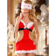 Sexy Mrs Claus Three Piece Dress and Blindfold Set