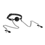 Silicone Kink Black Vented Ball Gag with Nipple Clamps