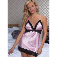 Seven Til Midnight Satin and Lace Two Piece Chemise and Thong Set
