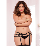 Plus Size Seven Til Midnight Black Strap Me In Garter Belt
