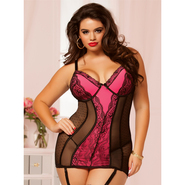 Plus Size Seven Til Midnight Mixed Pink/Black Chemise Set