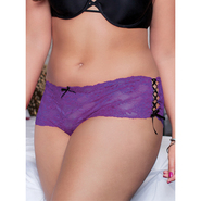 Plus Size Seven Til Midnight Purple Side Ribbon Thong