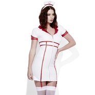 Fever Role Play White Wet Look Nurse Dress
