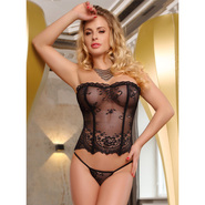 Bondara Sheer Floral Corset and G-String