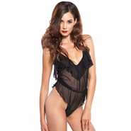 Leg Avenue Sheer High Cut Flutter Ruffle Teddy with Brazilian Back