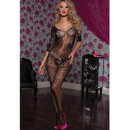 Seven Til Midnight Swirl Of Floral Lace Crotchless Bodystocking