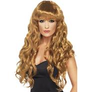 Glamorous Long Brown Curly Wig with Full Fringe