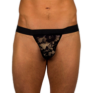 Bondara Cheeky Exposure Sheer Lace Jock Strap in Black