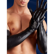 Sevenjoyment Wet Look Elbow Length Gloves For Men