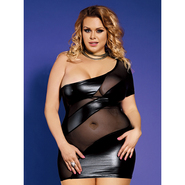 Bondara Plus Size Mesh and Wet Look Dress
