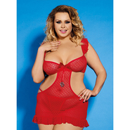 Bondara Plus Size Red Cut Out Babydoll and Thong