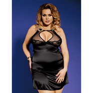 Bondara Plus Size Satin Keyhole Dress and Thong